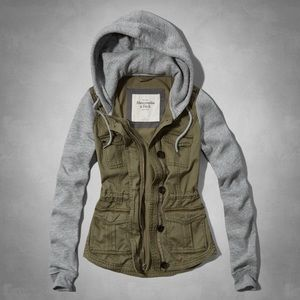 Abercrombie and Fitch Gray and Olive Hoodie Jacket